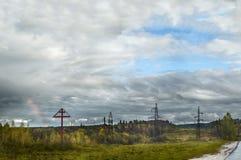 Cielo del otoño sobre el monasterio de Serafimo-Diveevsky Foto de archivo