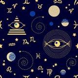 Cielo del zodiaco adornos 1950s-1960s Colección retra de la materia textil stock de ilustración