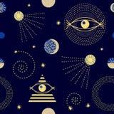 Cielo del zodiaco adornos 1950s-1960s Colección retra de la materia textil ilustración del vector
