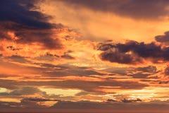 Cielo dell'arancia di tramonto Fotografia Stock Libera da Diritti
