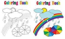 Cielo dell'arcobaleno del libro da colorare Immagini Stock Libere da Diritti