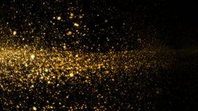 Cielo dell'oro Particelle affumicate dell'onda dello stardust astratto