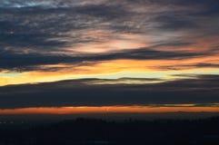 Cielo della città di Bergamo, tramonto, Lombardia Italia Immagini Stock Libere da Diritti