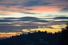 Cielo della città di Bergamo, tramonto, Lombardia Italia Fotografia Stock Libera da Diritti