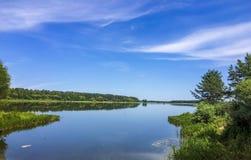 Cielo della foresta del paesaggio, fiume fotografia stock libera da diritti