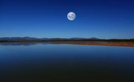 Cielo della luna blu Fotografia Stock