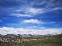 Cielo della nuvola del sole di paesaggio del Tibet immagine stock