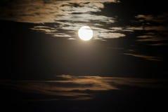 Cielo della siluetta con la luce della luna Immagine Stock