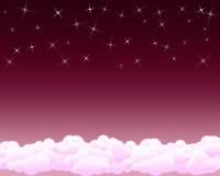 Cielo della stella con le nubi Immagini Stock Libere da Diritti