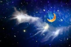 Cielo della stella e della luna piena Fotografie Stock Libere da Diritti