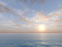 Cielo della vaniglia sopra il mare Fotografie Stock Libere da Diritti