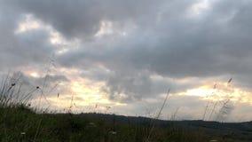 Cielo delle nuvole di tempesta di mattina durante l'alba video d archivio