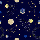 Cielo dello zodiaco Modello senza cuciture astratto di vettore con le costellazioni Fotografia Stock
