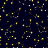 Cielo dello zodiaco Modello senza cuciture astratto di vettore con le costellazioni Immagine Stock Libera da Diritti