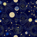 Cielo dello zodiaco Modello senza cuciture astratto di vettore con le costellazioni Immagini Stock