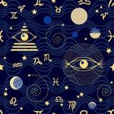 Cielo dello zodiaco motivi 1950s-1960s Retro raccolta del tessuto Immagini Stock