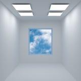 Cielo detrás de la ventana abierta stock de ilustración