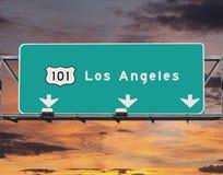 Cielo di alba di Los Angeles di 101 autostrada senza pedaggio Fotografia Stock Libera da Diritti
