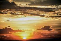 Cielo di estate di tramonto in Grecia Fotografia Stock