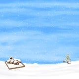 Cielo di inverno e piccole case rustiche Immagini Stock Libere da Diritti