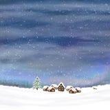 Cielo di inverno e piccolo villaggio Fotografia Stock