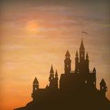 Cielo di luce della luna del castello di vettore di fantasia Fotografie Stock