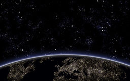 Cielo di Nigth con la terra del pianeta Fotografia Stock Libera da Diritti