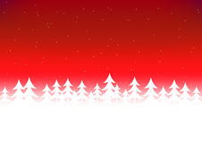 Cielo di rosso della neve dell'albero di Natale Fotografia Stock