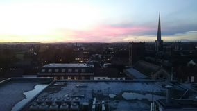 Cielo di rosso di tramonto Immagini Stock