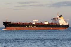 CIELO DI SALERNO. Handysize product tanker CIELO DI SALERNO on the river Elbe. d'Amico International Shipping is listed since 2007 on the Milan Stock stock image