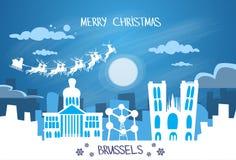 Cielo di Santa Claus Sleigh Reindeer Fly Belgium Fotografia Stock Libera da Diritti