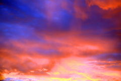 Cielo di tramonto ad estate Fotografia Stock Libera da Diritti