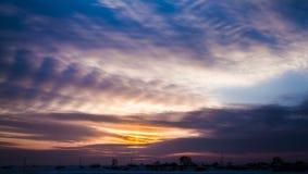 Cielo di tramonto di inverno Fotografia Stock