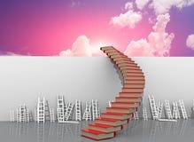 Cielo di vantaggio competitivo delle scale dei libri - rappresentazione 3d immagini stock libere da diritti