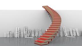 Cielo di vantaggio competitivo delle scale dei libri - rappresentazione 3d fotografia stock