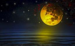 Cielo dramático, una luna estupendo-amarilla con las ramas y flores rojas a través de la flotación sobre el mar libre illustration