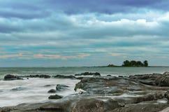 Cielo drammatico al puntello di Montevideo Fotografia Stock