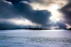 Cielo drammatico sopra un boschetto vicino della primavera del campo innevato, Pennsy Fotografie Stock