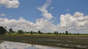 Cielo e campi di lasso di tempo con l'agricoltore che ara per regolare l'area di piantatura stock footage