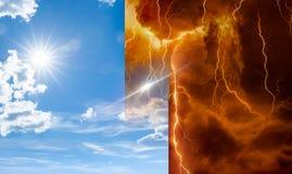 Cielo e inferno, bene e male, luci ed ombre immagini stock