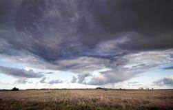 Cielo e mulini a vento di orrore Immagine Stock