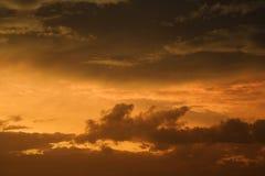Cielo e nubi dorati di tramonto. Fotografia Stock