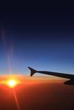 Cielo ed aeroplani di tramonto Immagine Stock