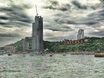Cielo ed oceano tempestosi di Pattaya Tailandia immagine stock libera da diritti