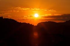 Cielo en la puesta del sol Fotos de archivo libres de regalías