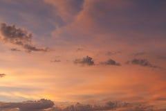 Cielo en la puesta del sol Imagen de archivo libre de regalías