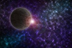 Cielo estrellado colorido Un planeta alrededor del cosmos imagen de archivo libre de regalías