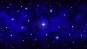 Cielo estrellado de la noche con el humo móvil, niebla, estrellas grandes brillantes del fondo dinámico azul marino del espacio,  stock de ilustración