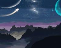 Cielo estrellado de la noche contra el contexto de las montañas stock de ilustración