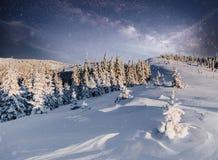 Cielo estrellado en noche nevosa del invierno Vía láctea fantástica en el ` s Eve del Año Nuevo Noche nevosa del invierno del cie Imagen de archivo
